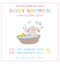 Baby Shower or Arrival Card - Baby Bunny Girl vector image vector image