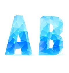 Blue polygonal font vector image vector image