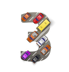 road with cars in the form of number three vector image