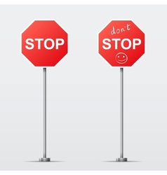 Stop and Dont Stop road sign isolated vector image