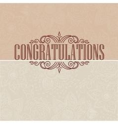 Vintage card congratulations card vector