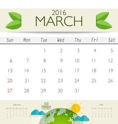 2016 calendar monthly calendar template for March vector