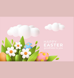 3d trendy realistic easter greeting card banner vector image