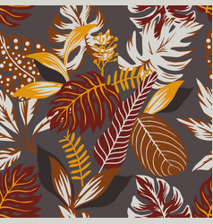 abstract autumn color leaves seamless grey vector image