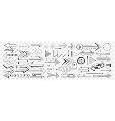 Arrows different shapes and directions doodle vector