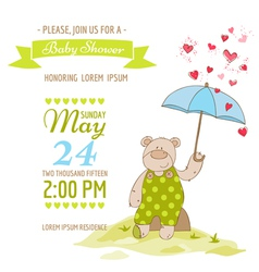 Baby Shower Card - with Baby Bear and Umbrella vector