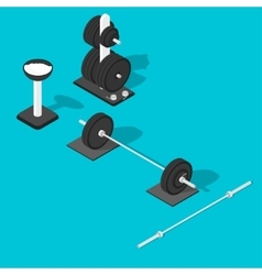 Barbell weights stand and bar vector