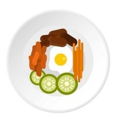 Bibimbap korean dish icon flat style vector image