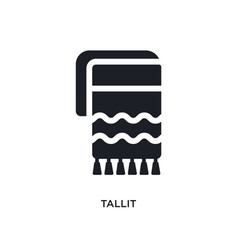 black tallit isolated icon simple element from vector image