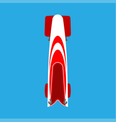 bobsled or bobsleigh red sled top view flat icon vector image