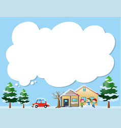 Border template with kids in the snow vector