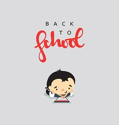 Boy student with a backpack and modern gadget vector