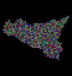 bright dotted sicilia map vector image