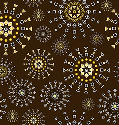 Brown background with geometric shapes flowers vector image