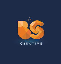 bs letter with origami triangles logo creative vector image