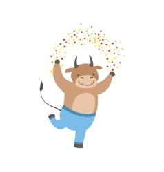 Bull Cute Animal Character Attending Birthday vector