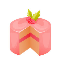 Cake close-up with glaze cream mousse vector