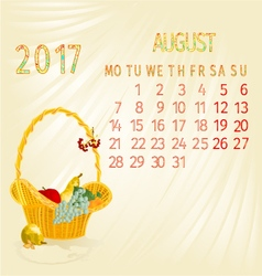 Calendar August 2017 fruit in a wicker basket vector