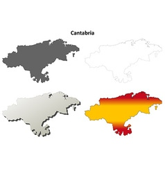 Cantabria blank detailed outline map set vector