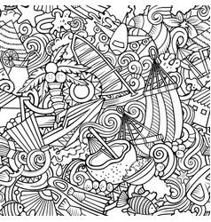 cartoon doodles maldives seamless pattern vector image