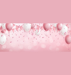 Celebration cute pink background with balloons vector