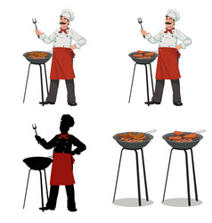 chef cooks barbecueset of four vector image