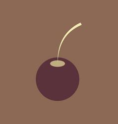 Cherry sweet fruit flat icon realistic vector
