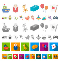 children s toy cartoon icons in set collection for vector image