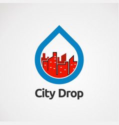 city drop logo with blue and red color icon vector image