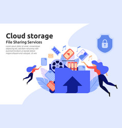 cloud storage service file sharing center service vector image