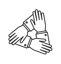 collaboration three human hands covering each vector image