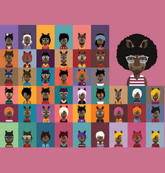 Collection rhino avatars vector