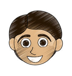 Color pencil caricature front face boy with short vector
