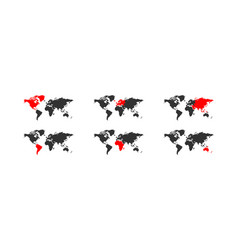 Continents map world globe red and black icon vector