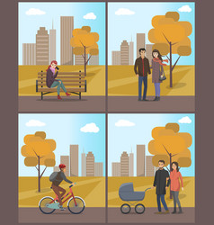 couples and biker woman with phone set vector image