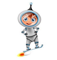 cute cartoon astronaut surfing on jet board vector image