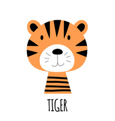 cute little tiger animal icon vector image