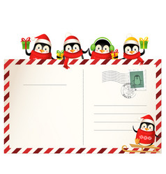 cute penguins on christmas postcard vector image