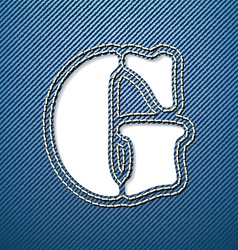 Denim jeans letter G vector