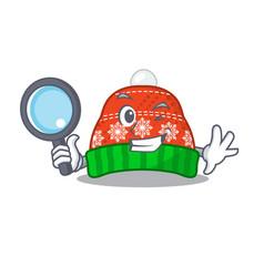 Detective winter hat in mascot shape vector