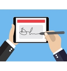 Digital signature on tablet vector image