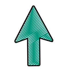 Doodle arrow sign up direction icon vector