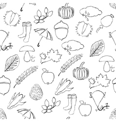 Doodle seamless pattern with autumn pictures vector