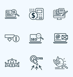 Engine icons line style set with budget calculator vector