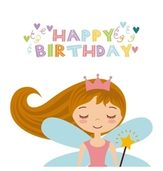 fairy birthday card vector image