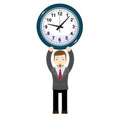 Funny cartoon businessman with clock vector