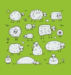 Funny sheeps sketch for your design vector
