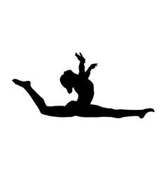 Girl gymnast athlete doing split leap vector