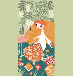 Girl with flamingo and henri matisse inspired vector