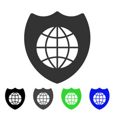Global shield flat icon vector